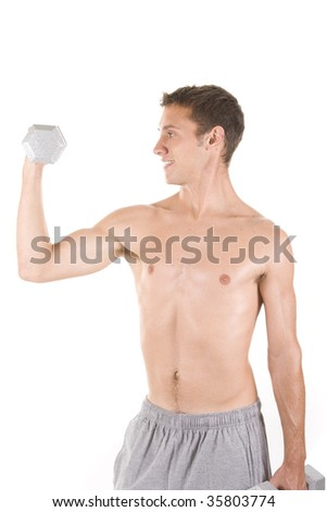 Man on a white background holding dumbbells.