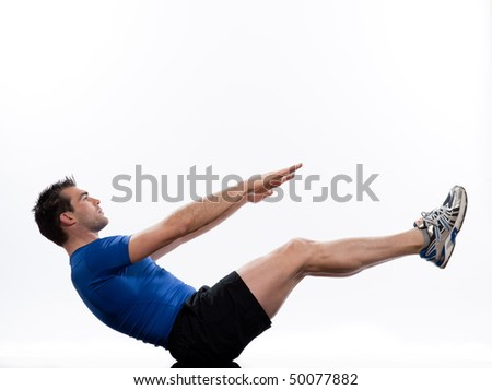man on Abdominals workout posture on white background. - stock photo