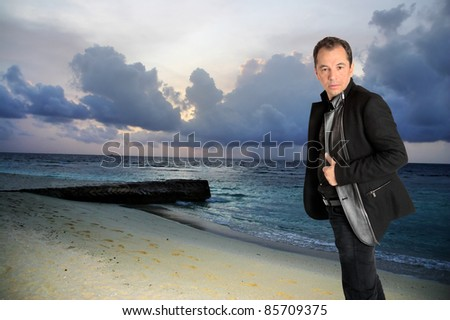 Man on beach before the storm