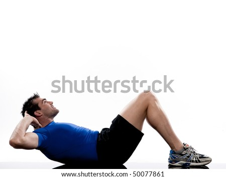 man on floor Abdominals workout posture on white background - stock photo