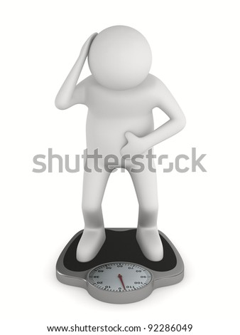 man on floor scales. Isolated 3D image - stock photo