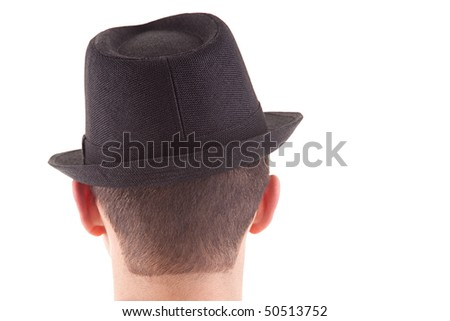 man on his back with a black hat on, isolated on white background - stock photo