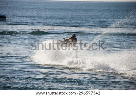 man on jetski - stock photo