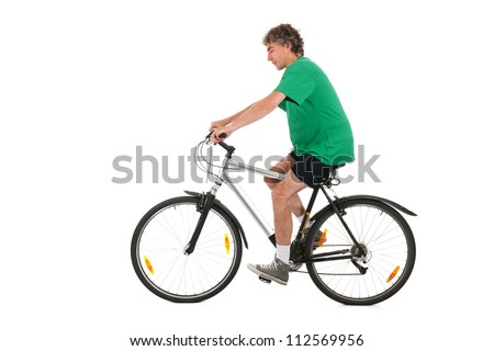 Man on mountain bike in studio - stock photo