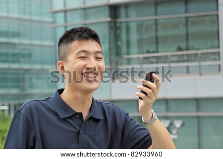man on phone and smile