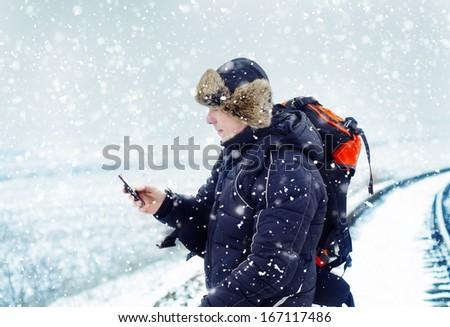 Man on railroad - stock photo