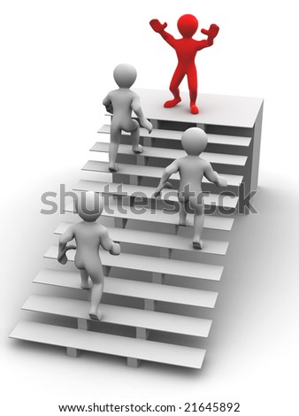 Man on stairs. 3d - stock photo