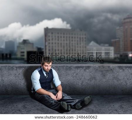 Man on the floor - stock photo