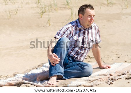 Man on the irish beach