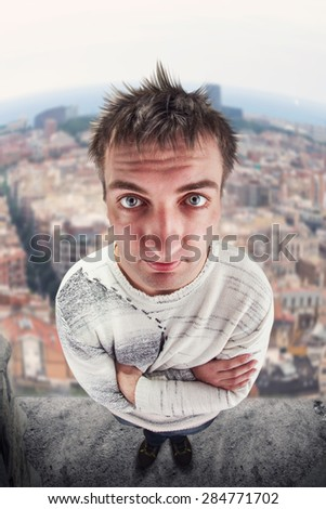 Man on the top - stock photo