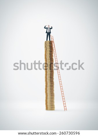 Man on the top of coins stack - stock photo