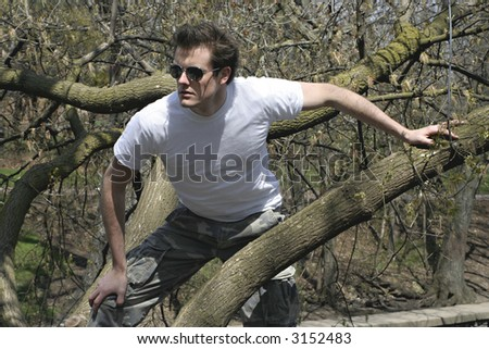 man on the tree - stock photo