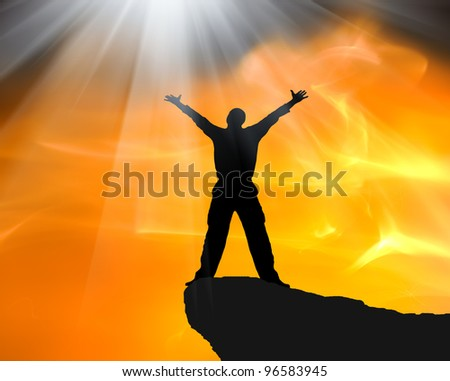 Man on top of mountain. Conceptual design. - stock photo
