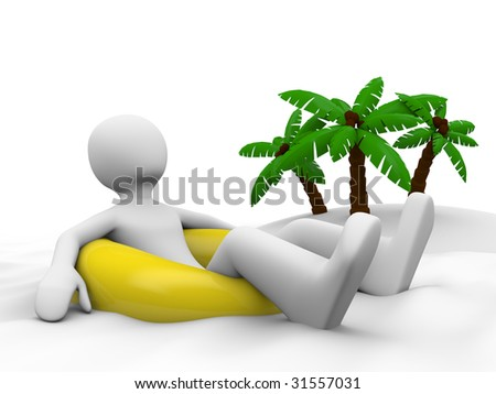 Man on vacation lying on the swim ring - stock photo