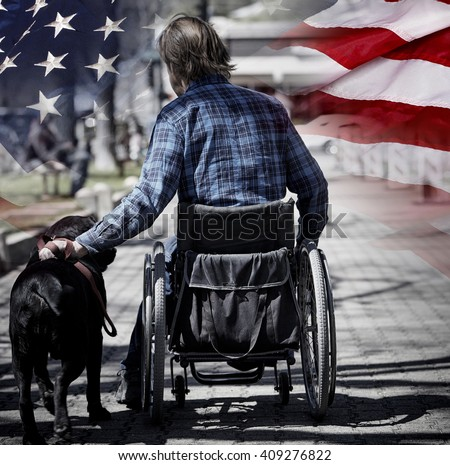 Man on wheelchair with guide dog concept USA veteran concept photograph patriotism and sacrifice - stock photo