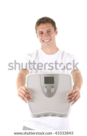 Man on white background holding a scale