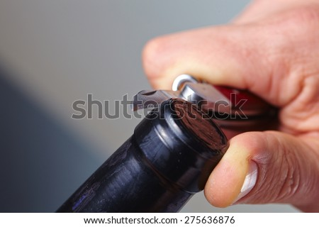man opening a bottle of wine - stock photo