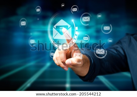 man opening a mail  - stock photo