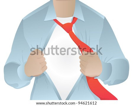 Man opening his shirt/business man revealing his secret identity/vector blank - stock photo