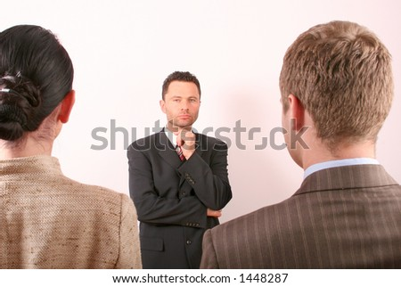 man or woman - business man is making selection - stock photo
