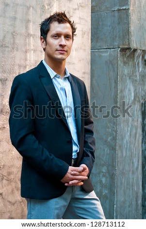 Man Outside in Casual Business Attire - stock photo
