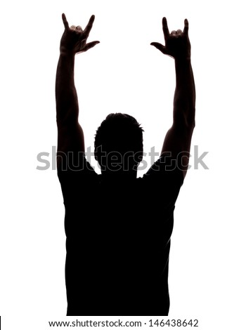 Man partying in silhouette isolated over white background  - stock photo