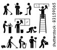 Man People Cleaning Washing Wiping Sweeping Vacuum Cleaner Worker Pictogram Icon Symbol Sign - stock photo