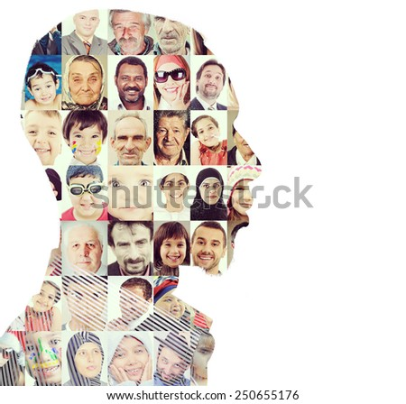 Man people human faces persons - stock photo