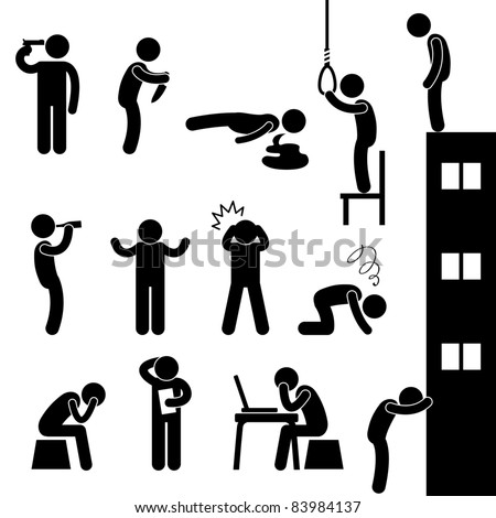 Man People Life Suicide Suicidal Kill Desperate Death Stress Sad Icon Pictogram Sign Symbol - stock photo