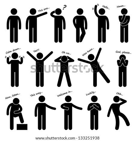 Man People Person Basic Body Language Stock Illustration 133251938