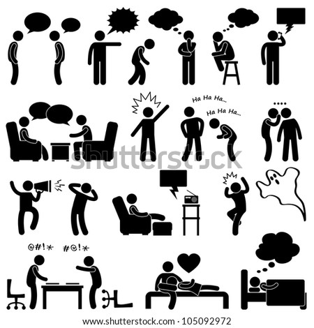 Man People Talking Thinking Conversation Thought Laughing Joking Whispering Screaming Chatting Icon Symbol Sign Pictogram - stock photo