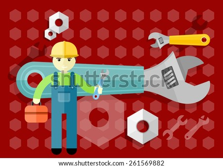Man, person with toolbox and wrench in hands. Engineer character. Flat icon modern design style concept. Raster version - stock photo
