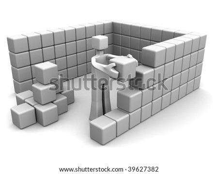Man placing a brick to build a house 3d illustration
