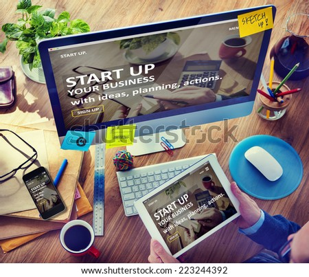 Man Planning to Startup Business with Computer - stock photo