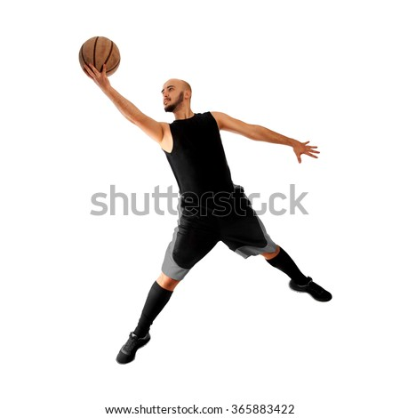 man playing basketball on white background. Basketballer. Basketball player makes a slam dunk. Slam dunk. Square isolated on white basketballer.
