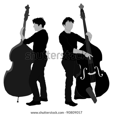 Man playing double bass - stock photo