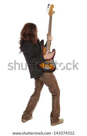 Man playing electrical guitar isolated on white - stock photo