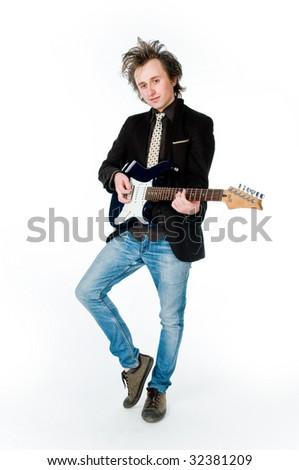 Man playing electro guitar, isolated on white background - stock photo