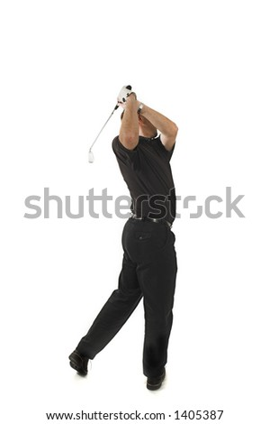 man playing golf over white