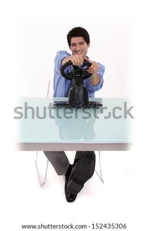 Man playing video games - stock photo