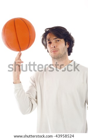 Man playing with the basketball isolated over white