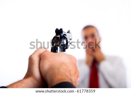 Man Point a Gun on Young Terrorized Businessman - stock photo
