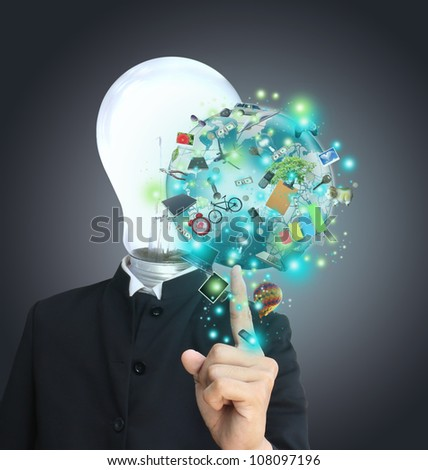 Man point world object - stock photo