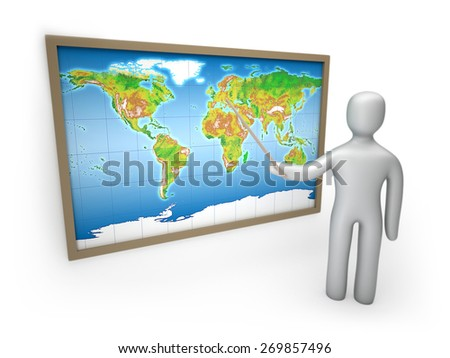 Man pointing at the map isolated on white background 3d illustration - stock photo