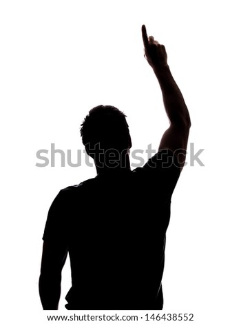 Man pointing at the sky in silhouette isolated over white background  - stock photo