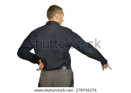 Man pointing down on a white background
