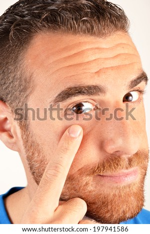 Man pointing his finger eye