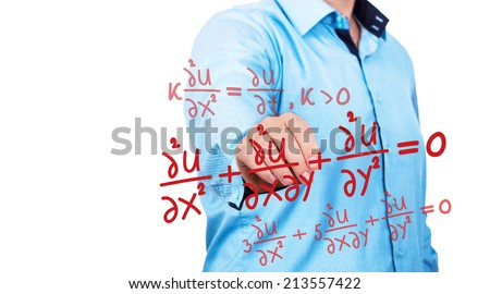 Man pointing on complex mathematical equations - stock photo