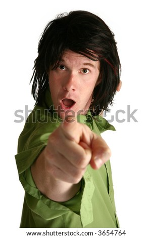 Man points at camera with crazy expression - stock photo