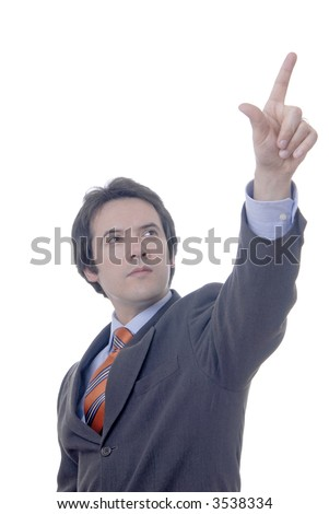 man points with of the finger with respect to the destination.... - stock photo